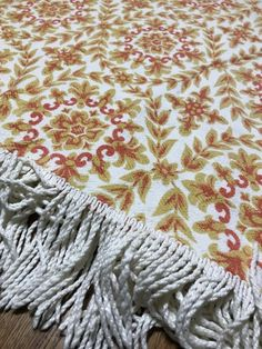 Vintage Bates Twin Bedspread Hippie Orange and White Pattern Retro with fringe Mid Century Bedroom, Bedspread, White Patterns, Twin, Blanket, Orange, Retro, Vintage, Home Decor