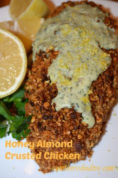 Honey almond crusted chicken from A Mother's Shadow