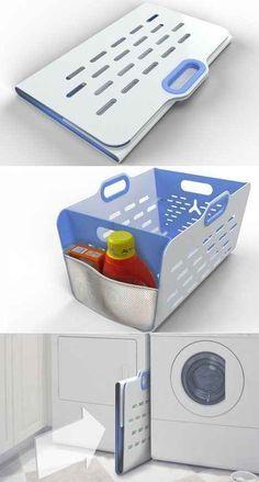 Una canasta de lavandería totalmente plegable.