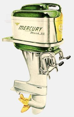 1954 Mercury Mk50 40HP outboard motor advertising illustration