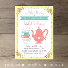 Garden tea party baby shower invitation a baby is brewing invite garden tea party baby shower invitation a baby is brewing invite gender neutral high tea invite bridal shower printable lr1029 by littl filmwisefo