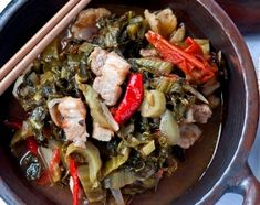 Beef or Pork with Sin Choy (Pickled Mustard Cabbage) One of the biggest reasons to make Sin Choy (Pickled Mustard Cabbage) is to prepare this wonderful recipe. Sweet and sour, a very popular restaurant dish. Posted By: Deirdre K Todd