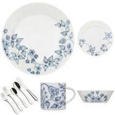 Iittala Runo by Arabia Winter, Service For 1 Bundle Place Settings, Dinnerware, Guo Pei, Pottery, Cobalt, Tableware, Winter, Glass, Indigo