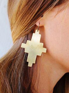 Southwestern Navajo Brass Earrings by GATHERJEWELRY on Etsy, $48.00