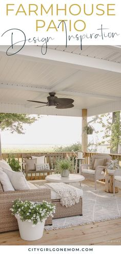 Farmhouse Patio Design Inspiration - - To get you ready for spring, we've rounded up nine of our favorite farmhouse backyard patios. It's farmhouse design inspiration to last you the whole year. Backyard Patio Designs, Diy Patio, Pergola Patio, Backyard Landscaping, Patio Awnings, Outdoor Patio Decorating, Backyard Porch Ideas, Modern Outdoor Decor, Farmhouse Outdoor Decor