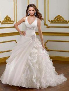 New V-neckline Ball Gown Wedding Dresses