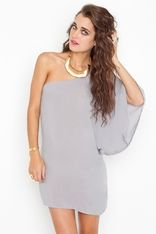 Asymmetric Flare Dress-Dove