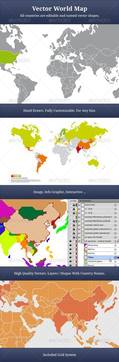 Character Box Ai illustrator, Vector design and Font logo - fresh world map with all countries vector