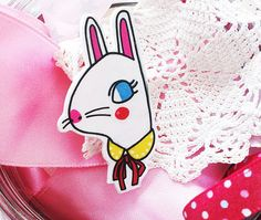 Pretty Bunny Lady Shrink Plastic Brooch Made To Order by Rose Hudson