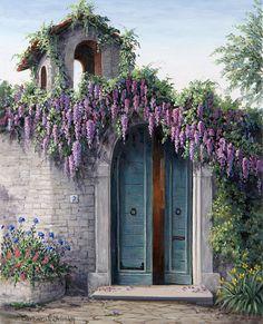Tableau de Barbara Rosbe Felisky, artiste américaine connue pour ses peintures de jardins et de paysages à caractère impressionniste.