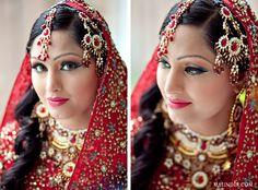 Red Indian bridal makeup