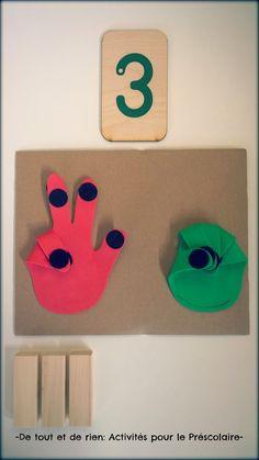 Finger counting tool and game - Outil pour compter avec les doigts Easy Preschool Crafts, Math Classroom, Classroom Activities, Toddler Activities, Preschool Activities, Number Sense Kindergarten, Kindergarten Math, Math 5, Baby Development