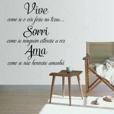 Vive Sorri Ama - Textos e Citações - Decoração em vinil Autocolante decorativo