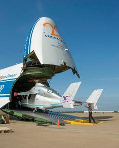 The Antonov 124 aircraft carrying a smaller aircraft.