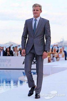 driver Marcus Ericsson at Amber Lounge Fashion Show Marcus Ericsson, F1 Drivers, Grand Prix, Hot Guys, Fashion Show, Suit Jacket, Racing, Jackets, Formula 1