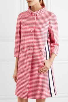 Prada - Paneled Houndstooth Wool Coat - Pink - IT40
