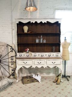 Painted Cottage Chic Shabby French Farmhouse China Cabinet / Hutch. $795.00, via Etsy.