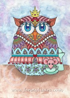 Original 5x7 NFAC Baby Owl in Egg Tea Time with Mouse zendoodle art Mix Media #Surrealism
