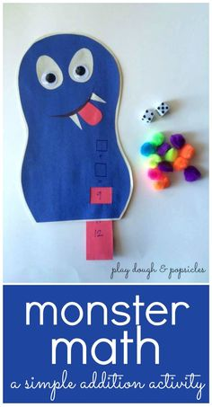 Monster Math: A Simple Dice Activity For Kids. Simple Addition. Preschool Math Activity. Simple Math Activity For Kids.