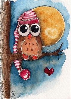 ACEO Original Folk Art Lucia Stewart Owl Bird Whimsy Tree Moon Heart Hat Night | eBay