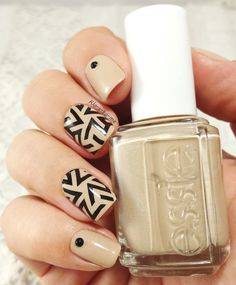 Nailpolis Museum of Nail Art | Graphic beige by klo-s-to-me