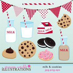 Milk & Cookies clipart set comes with 10 graphics including: a banner, white milk bottle, chocolate milk bottle, milk carton, glass of milk, striped paper straw, chocolate chip cookie, bite out of cookie, cream sandwhich cookies, peanut butter kiss cookie, and a frosted sugar cookie.