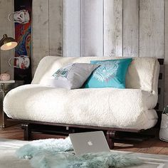 Astonishing Useful Tips: Futon Mattress Reading Nooks futon makeover.Futon Cushion Home white futon west elm. Dorm Couch, Dorm Futon, Futon Couch, Futon Slipcover, Futon Mattress, Futon Bedroom, Dorm Room, Cheap Mattress, Living Room