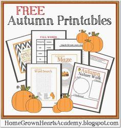 FREE Autumn Printables #homeschool #fall #autumn