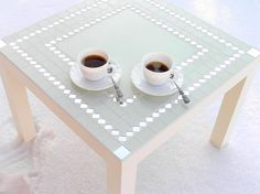 Chic modern coffee side table white mosaic art with mirror. €180,00, via Etsy.