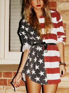 Discover this look wearing Dresses - American Flag Dress by quietlyexaggerating styled for Chic, Everyday in the Summer 4th Of July Dresses, 4th Of July Outfits, Trailer Park, American Flag Dress, Looks Style, My Style, Bohemian Style, Fashion Beauty, Womens Fashion
