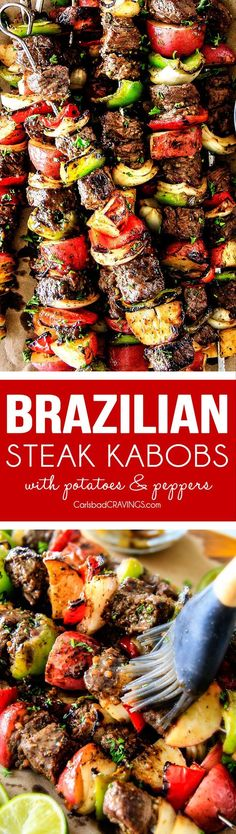 Baked or Grilled Brazilian Steak Kabobs with Potatoes (VIDEO!) Brazilian Steak Kabobs with Potatoes, Onions and Peppers- Oh my goodness, these were just as good as any Brazilian Steakhouse! So crazy juicy, exploding with flavor and super easy! Kabob Recipes, Steak Recipes, Grilling Recipes, Cooking Recipes, Healthy Recipes, Healthy Grilling, Barbecue Recipes, Kitchen Recipes, Steak Kabobs