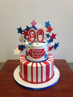 Red White and Blue 90th Birthday Cake