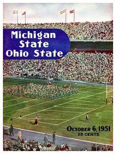 1951 Michigan State vs Ohio State Vintage Football Program #MSUvsOSU #OSUvsMSU #BuckeyeNation #Spartans #GoBucks