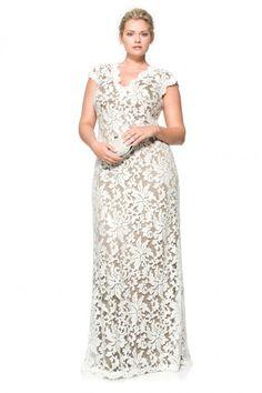 Paillette Embroidered Lace Scalloped V-Neck Gown - PLUS SIZE   Tadashi Shoji