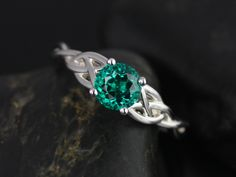 Rosados Box Cassidy 6mm White Gold Round Emerald Celtic Knot Engagement Ring