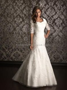 Leila- a gorgeous lace modest wedding dress...in store now