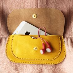 Handmade Leather wallet in Yellow / women Wallet / Hand bag / purses / iphone case / samsung wallet / leather case / Women / For Her / Gift