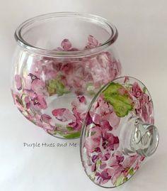 Decoupage Jars, Napkin Decoupage, Decoupage Tutorial, Decoupage Furniture, Decoupage Ideas, Glass Jars With Lids, Glass Containers, Mod Podge Crafts, Diy And Crafts