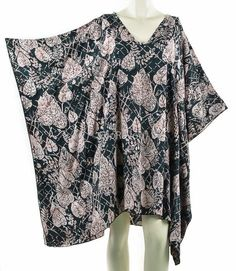 Ladies BLACK with OWLS  Kaftan Poncho Tunic top beach fits large plus size new