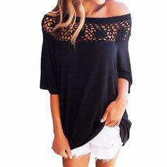 Liva Girl Crochet Neckline Top 2017 Autumn Women Slash Neck Half Sleeve  Casual T Shirt Women Hollow Out Tops Female T-Shirts 7d251767c62