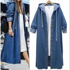Cheap denim trench coat, Buy Quality denim trench directly from China trench coat Suppliers: Autumn Winter Long Denim Trench Coat Loose Casual Open Stitch Long Sleeve Hooded Jeans Outerwear Female Dark Blue Windbreaker Long Denim Coat, Denim Trench Coat, Trench Coats, Outfit Jeans, Coats For Women, Jackets For Women, Neue Outfits, Fashion Mode, Fall Fashion