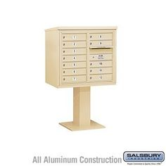 4C Pedestal Mailbox (Includes 26 Inch High Pedestal and Master Commercial Lock) - 7 Door High Unit (55-1/8 Inches) - Double Column - 12 MB1 Doors - Sandstone by Salsbury Industries. $1057.50. 4C Pedestal Mailbox (Includes 26 Inch High Pedestal and Master Commercial Lock) - 7 Door High Unit (55-1/8 Inches) - Double Column - 12 MB1 Doors - Sandstone - Salsbury Industries - 820996455819. Save 10%!