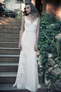 Erez Ovadia sweetheart neckline bridal dress with natural silhouette and strap