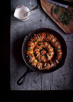 Crispy Sweet Potato Roast with Herbed Coconut Crème Fraîche by carey nershi