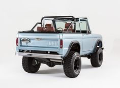 Classic Ford Bronco frame-off restoration using all of our components. 1971 Ford Bronco with Coyote engine, ZF 5 Speed transmission in Brittany Blue. Classic Ford Broncos, Ford Classic Cars, Classic Trucks, Classic Bronco, Ohio, Pick Up, Offroad And Motocross, Early Bronco, San Francisco