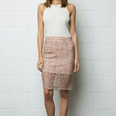 """Sale! BN Blush Lace Pencil Skirt Very cute and perfect for the office or date night.  Have the skirt in sizes med and large also. Waist is 13"""",  slip is 15"""" long and 23"""" skirt length Justina's Closet Skirts Pencil"""