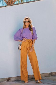 Here are a few ideas on how to wear purple and orange together, with street style looks and chic outfit inspirations. Colorful Outfits, Purple Outfits, Colorful Fashion, Stylish Outfits, Purple Pants Outfit, Formal Outfits, Colour Combinations Fashion, Outfit Combinations, Fashion Colours