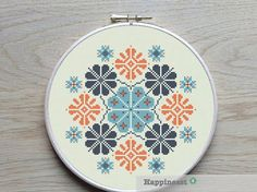 modern cross stitch pattern, geometric snowflake ornament, PDF ** instant download**