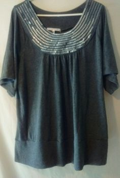 Sweater Short Sleeve Almost Famous Brand Plus 3X Long Gray Sequins #AlmostFamous…
