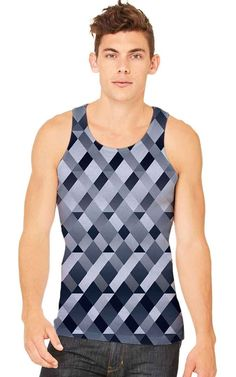 65 MCMLXV Men's Gradient Geometric Diamonds Tank Top. Available in sizes: S-M-L-XL. Printed on front with solid back.    Inspired by modern pop culture and current style and graphic trends, 65 MCMLXV strives to bring you the best in casual sportswear. Passionate and relentless dedication results in clothing that flatters everyone who wears it. Make a statement!    ****THIS TANK TOP IS NOT SOLD IN STORES****    An ultra-soft-to-the-touch feel. The tanks are 100% Polyester Jersey and made in…